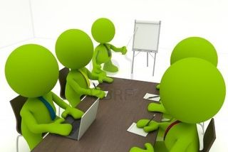 8773850-illustration-of-a-business-meeting-with-a-man-presenting-a-flipchart--part-of-my-cute-green-man-seri